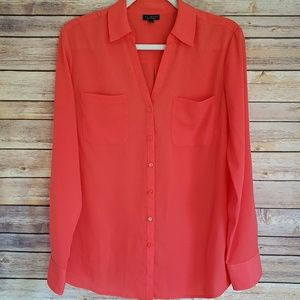 Talbots L Living Coral Nantucket Shirt EUC